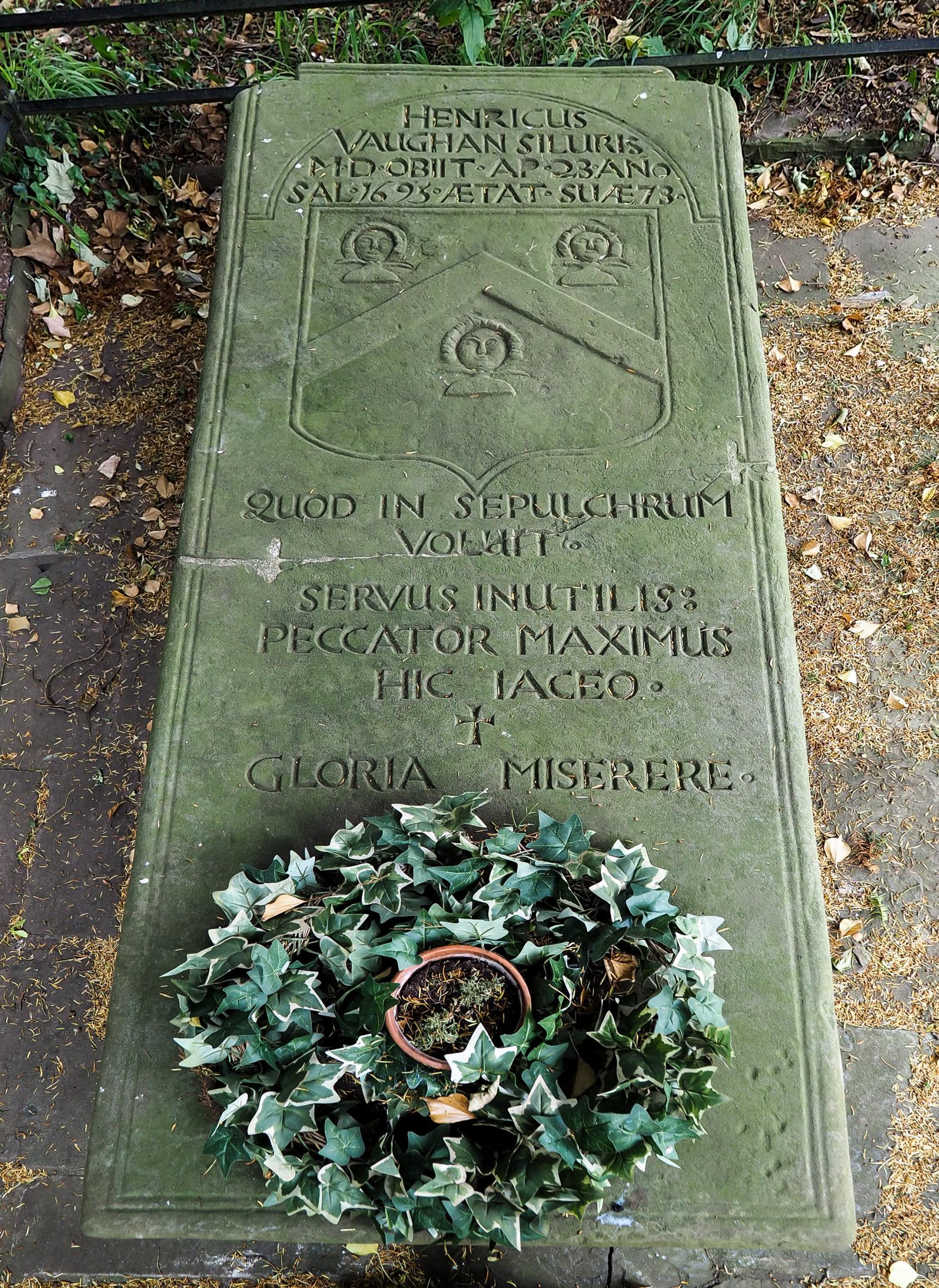 Henry Vaughan grave at Llansantffraed church