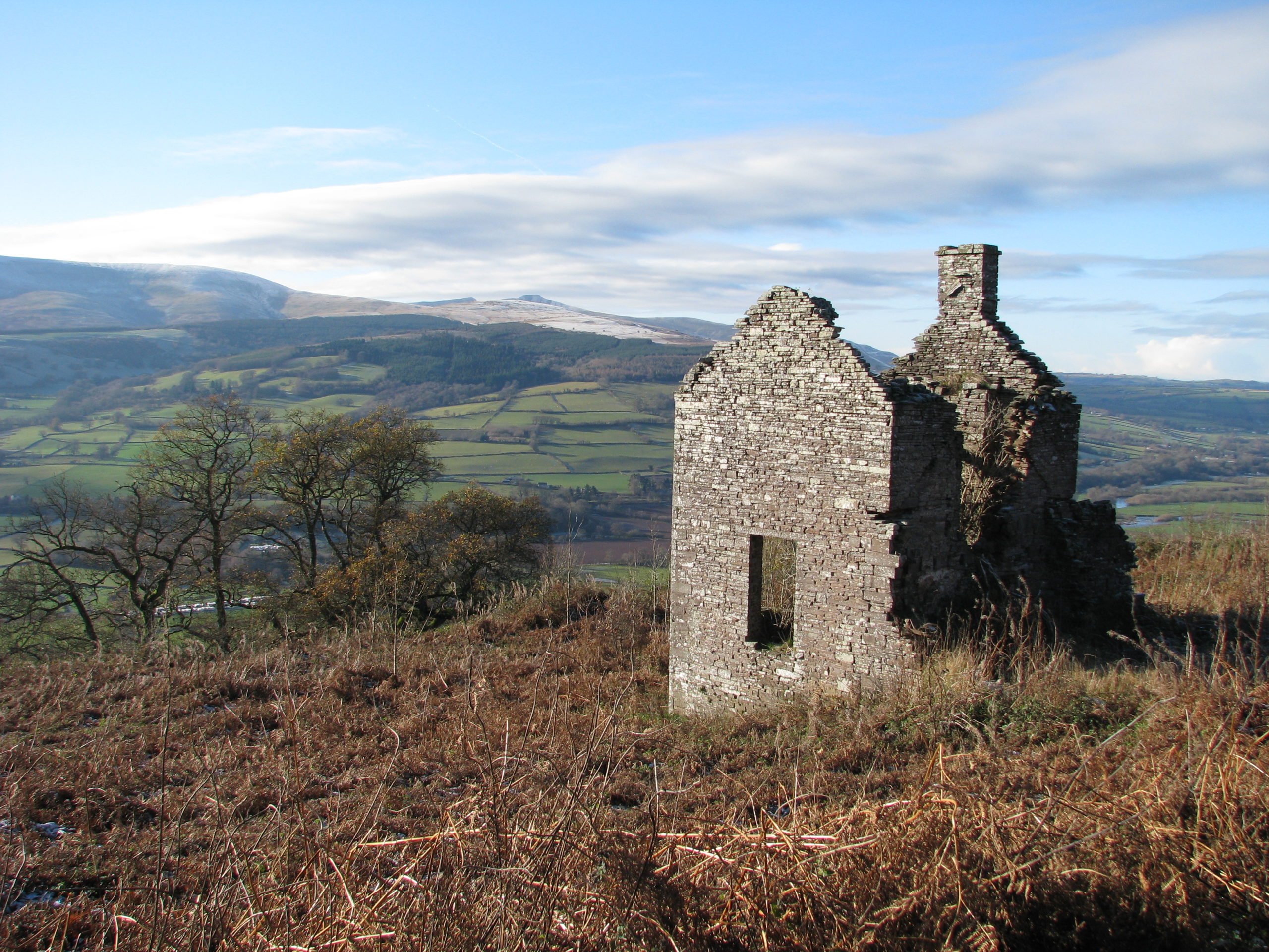 Ruins of the Buckland keeper's cottage on the Allt