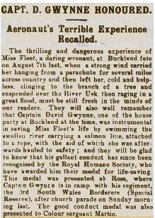 Rescue of Miss Fleet after balloon escapade