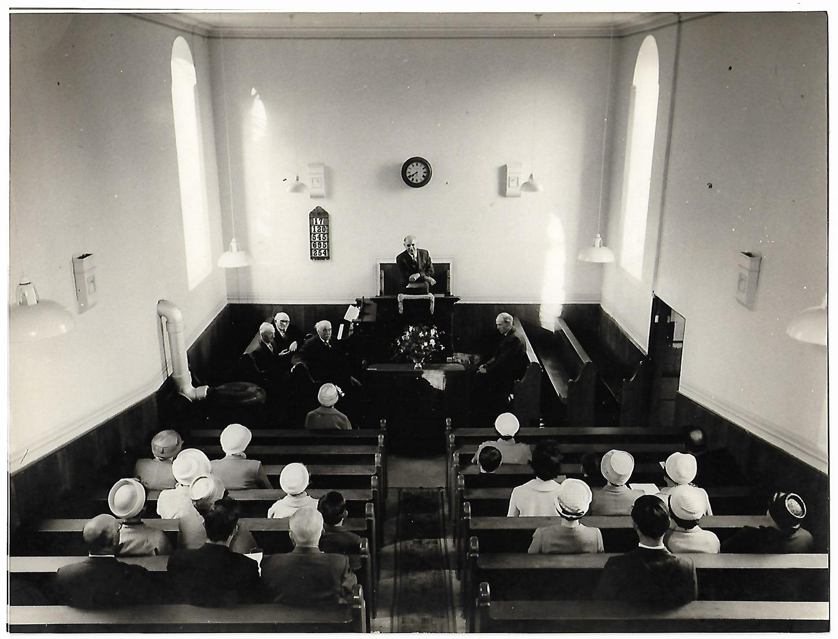 Aber Chapel interior with Huw Powell 1962