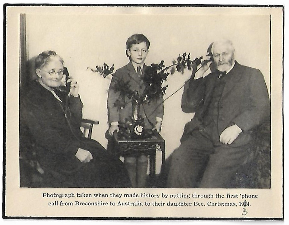 The first telephone call to Ausralia from Breconshire 1934 by the Price's of Aber Farm