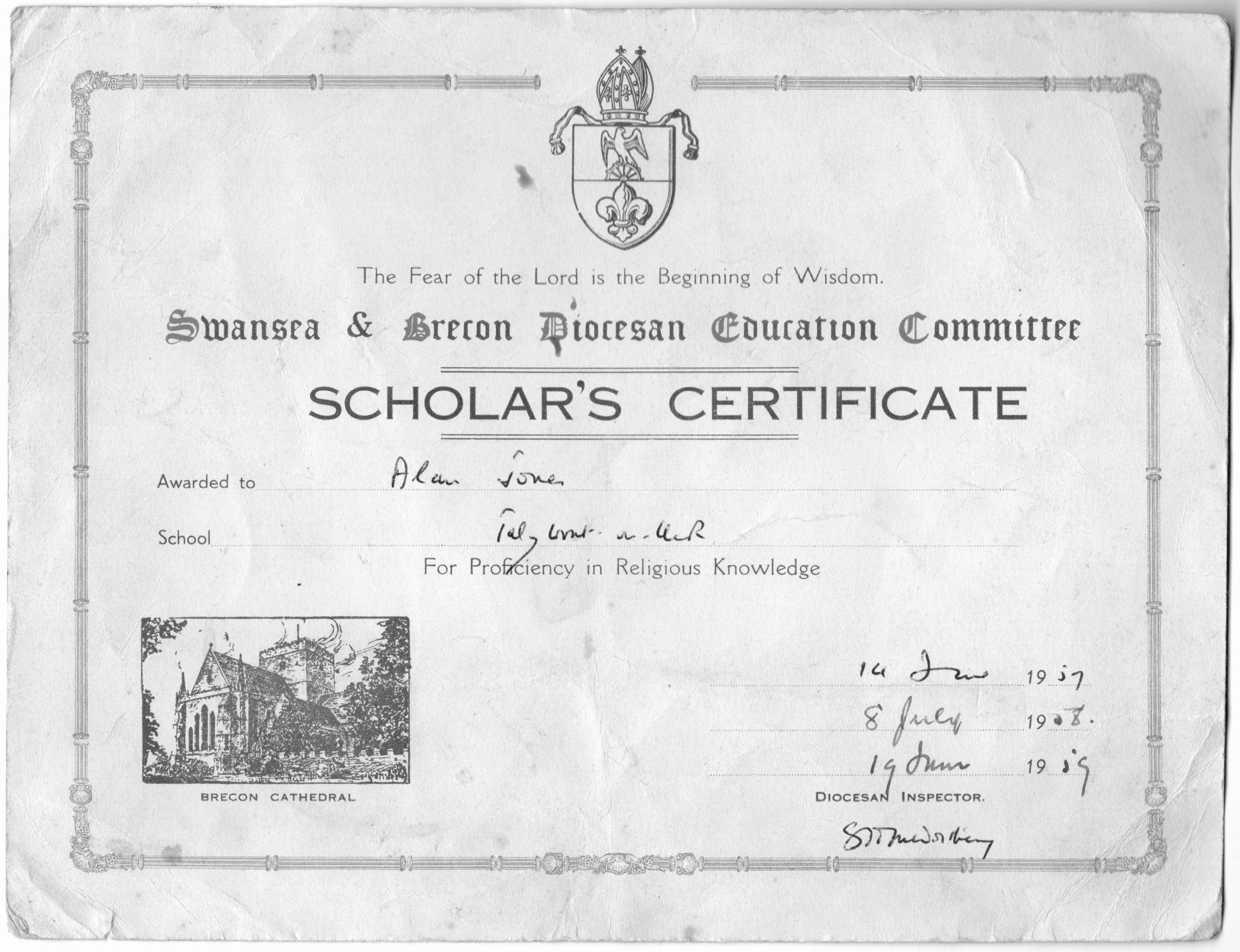 Talybont School Alan Jones' school certificate 1957