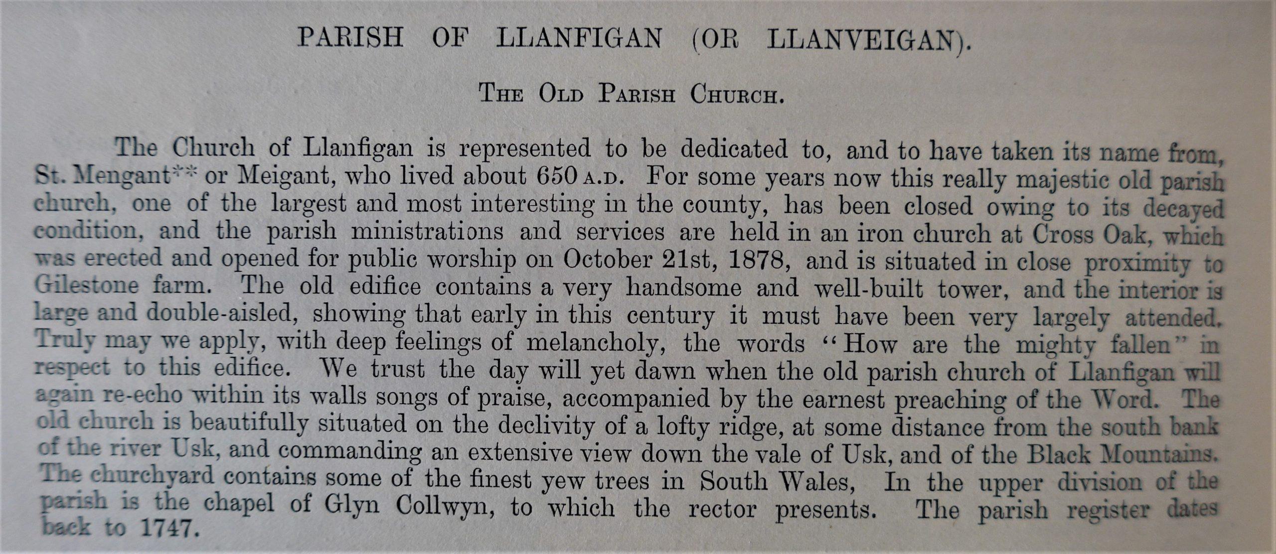 Llanfeugan Church History of Breconshire 1866