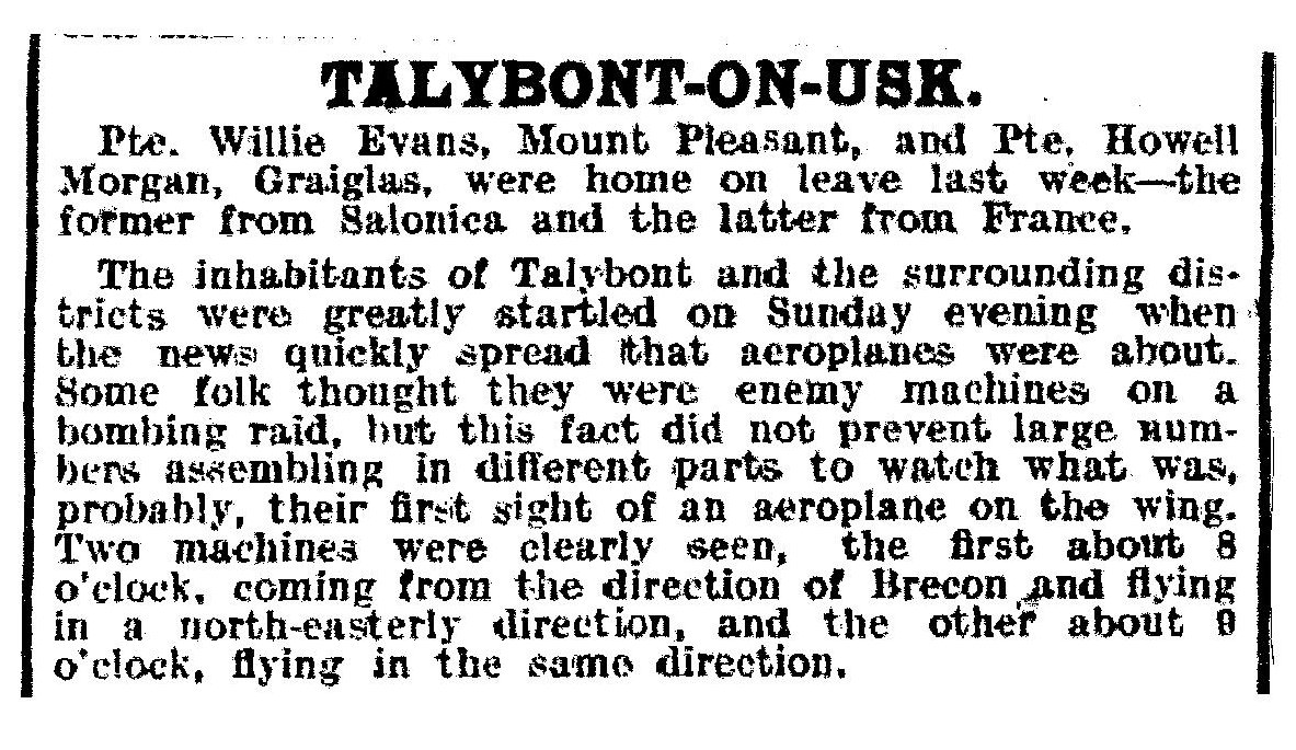 Newspaper report of aircraft 6th June 1918