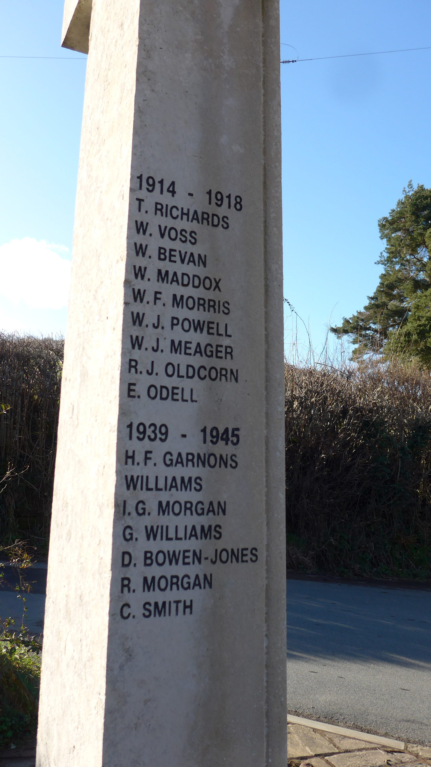 War Memorial Names from Llandetty and Llansantffraed added in 1980's