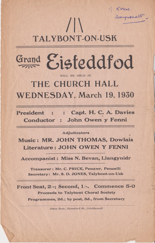 Church Hall Programme March 1930