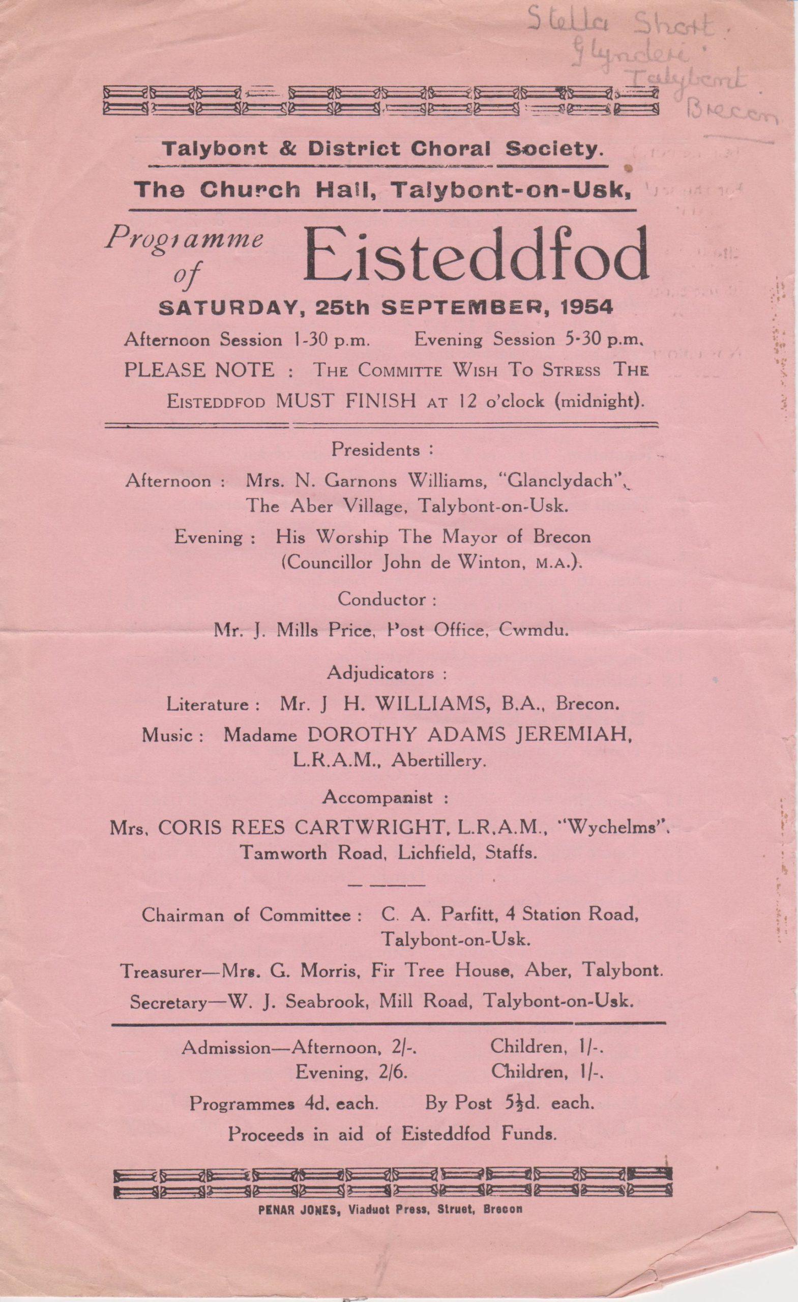Church Hall Programme September 1954