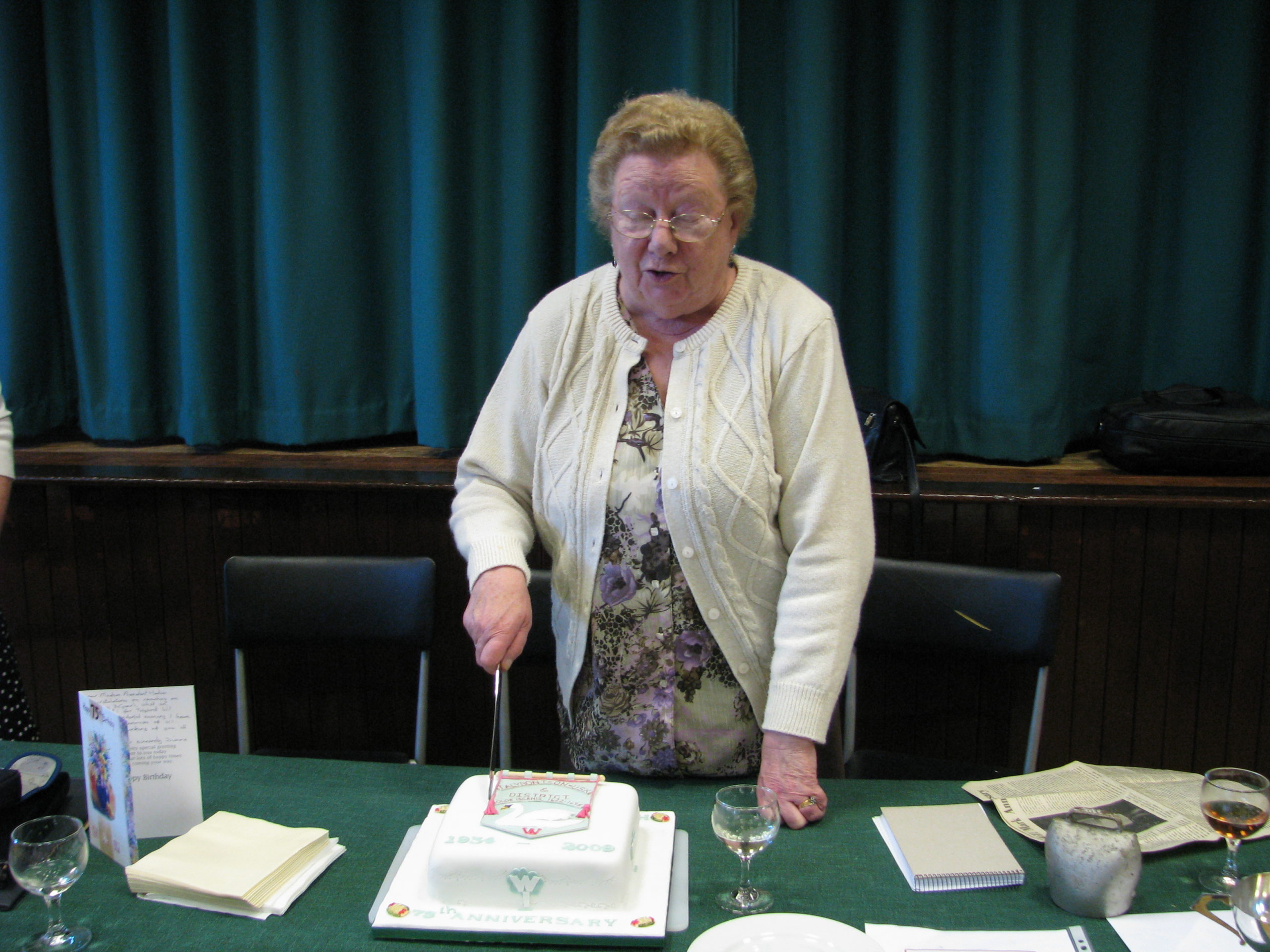 President Morfydd Morgan celebrates the 75th national Anniversary of the WI