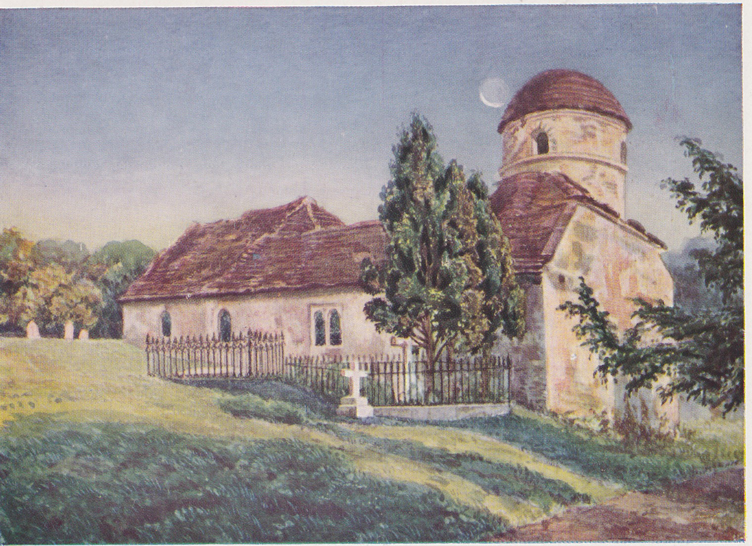 Painting of the old Llansantffraed Church
