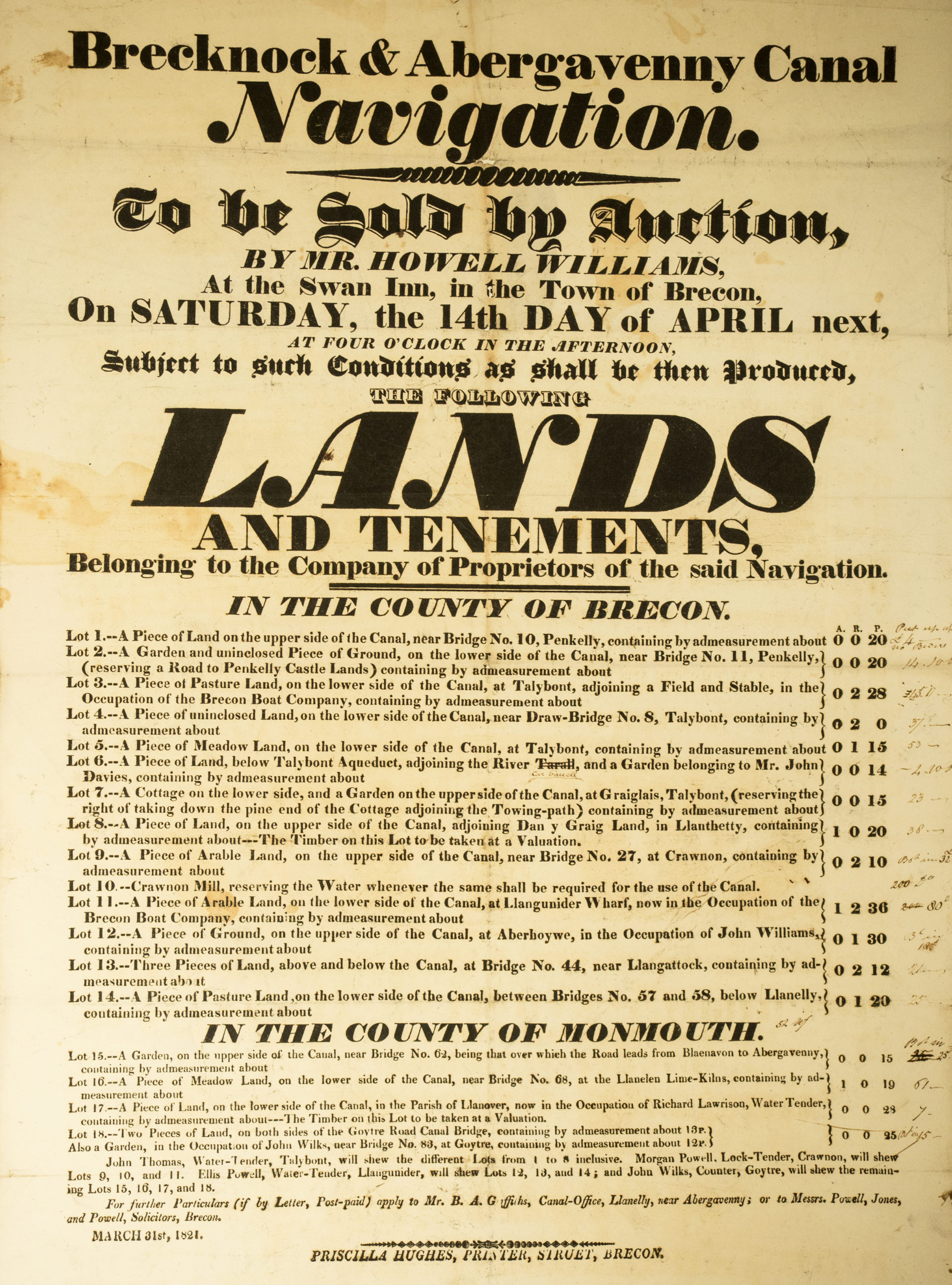 Canal Auction of lands notice 1821