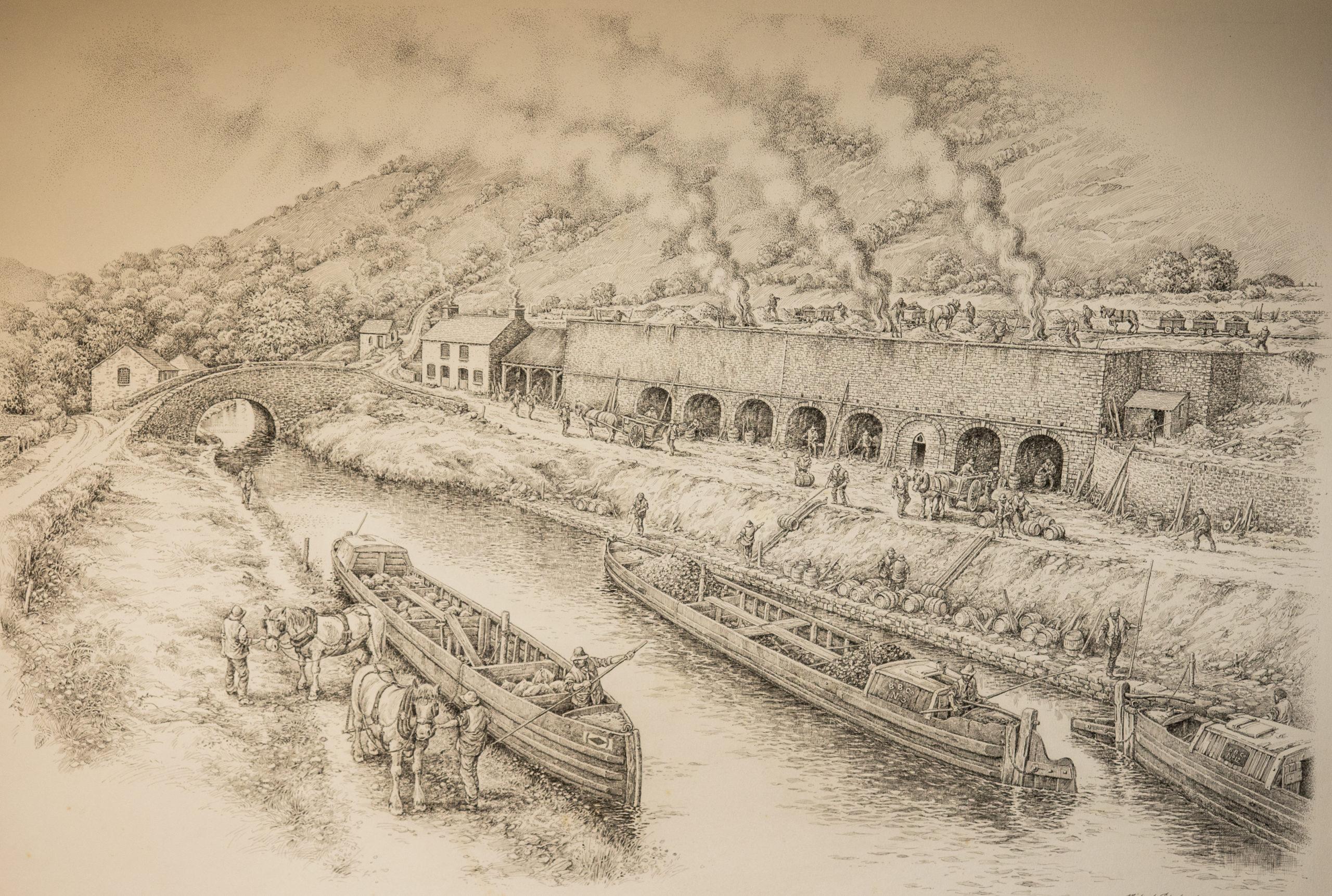 Pen & Ink drawing Talybont Wharf