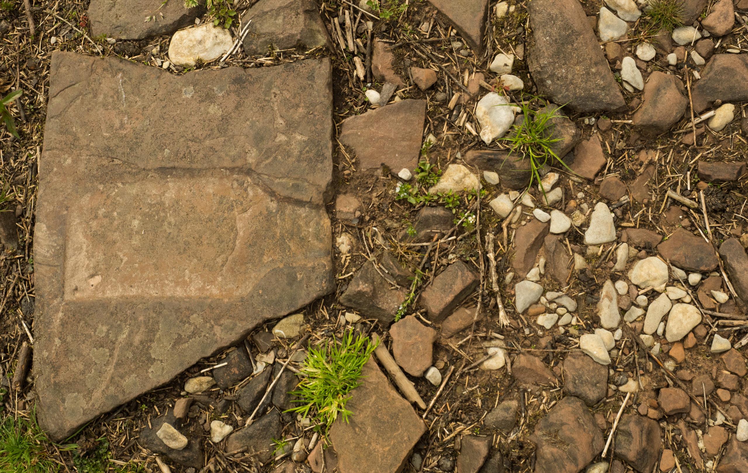Brinore Tram Road stone with tie bar imprint and limestone ballast
