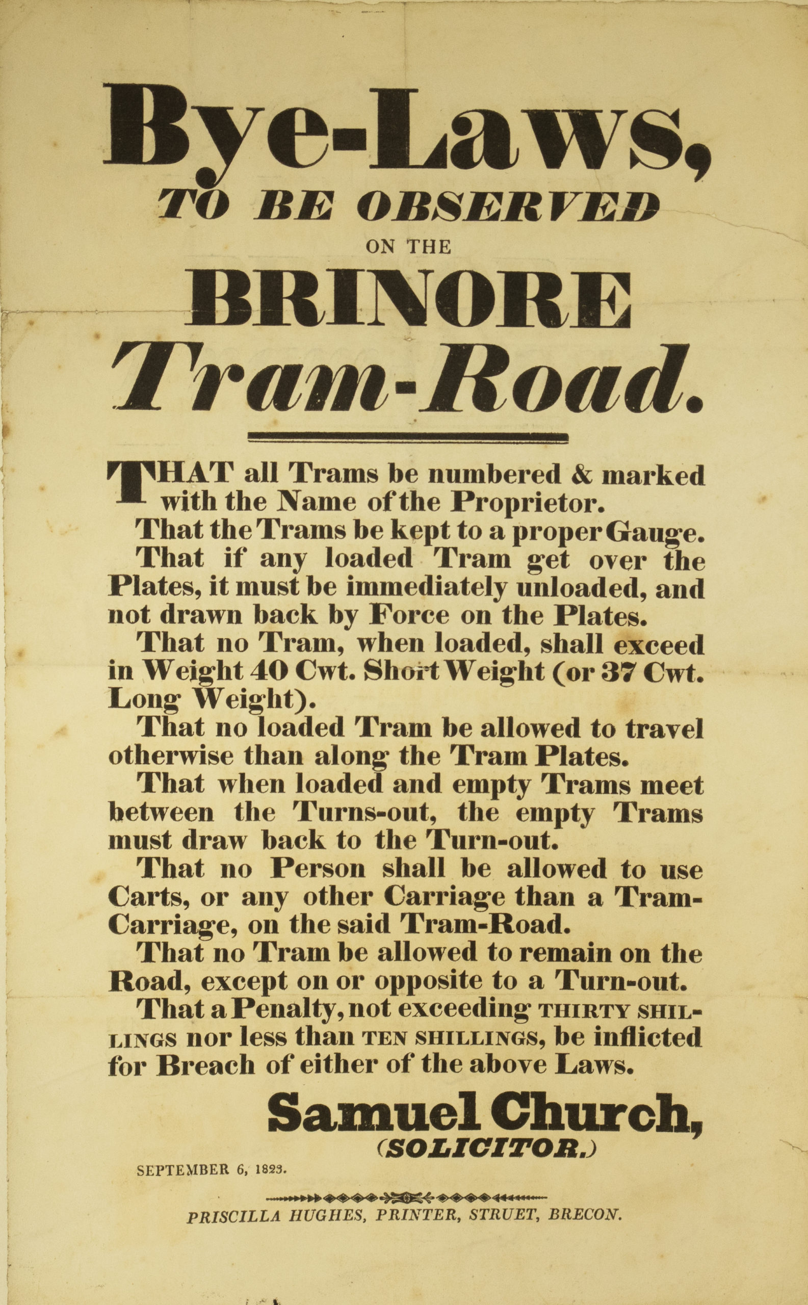 Brinore Tram Road Bylaws for operation