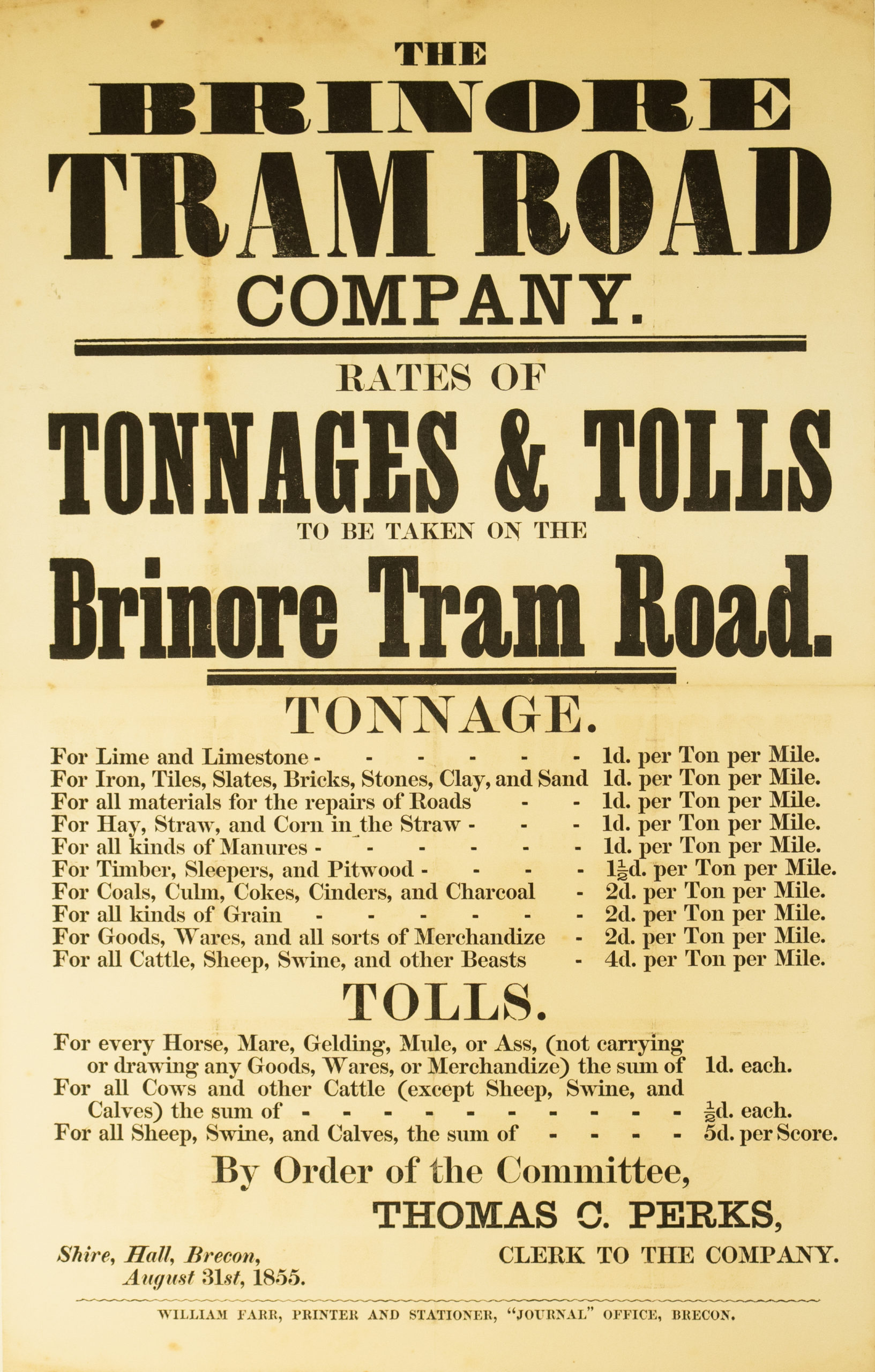 Brinore Tram Road Charges 1855