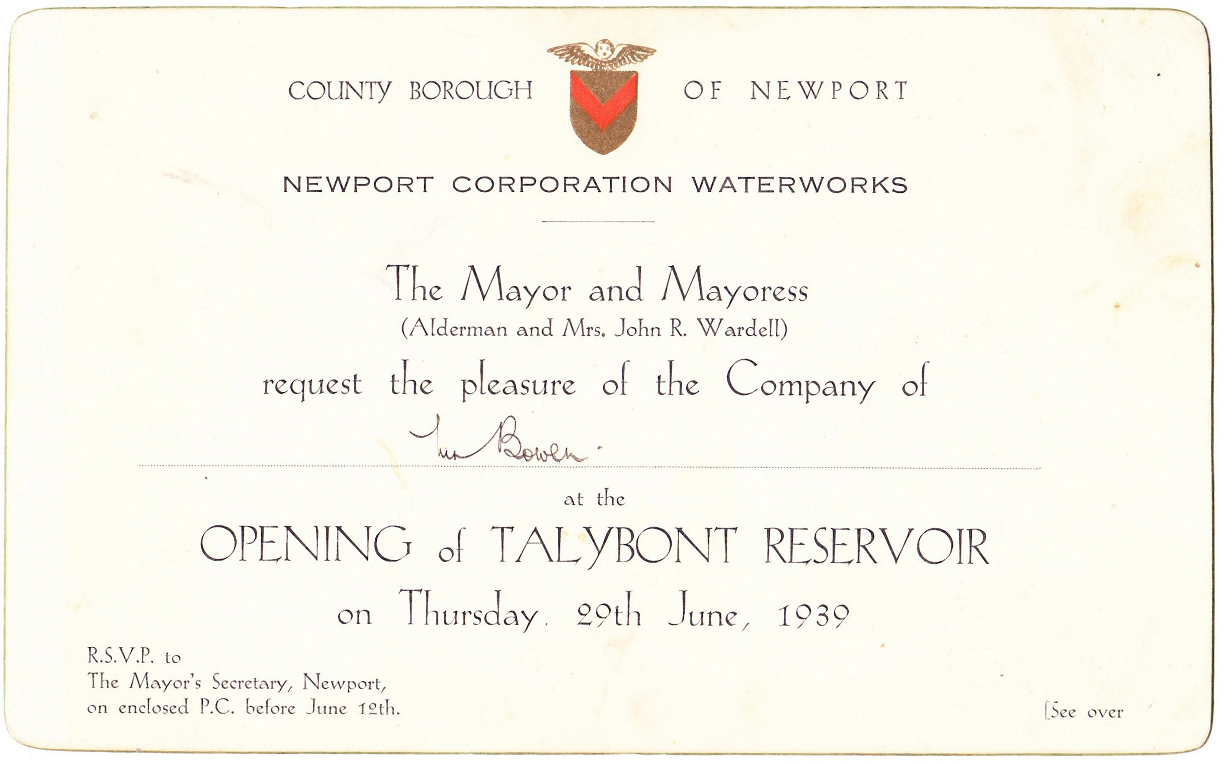 Invitation to the opening of the reservoir 1939