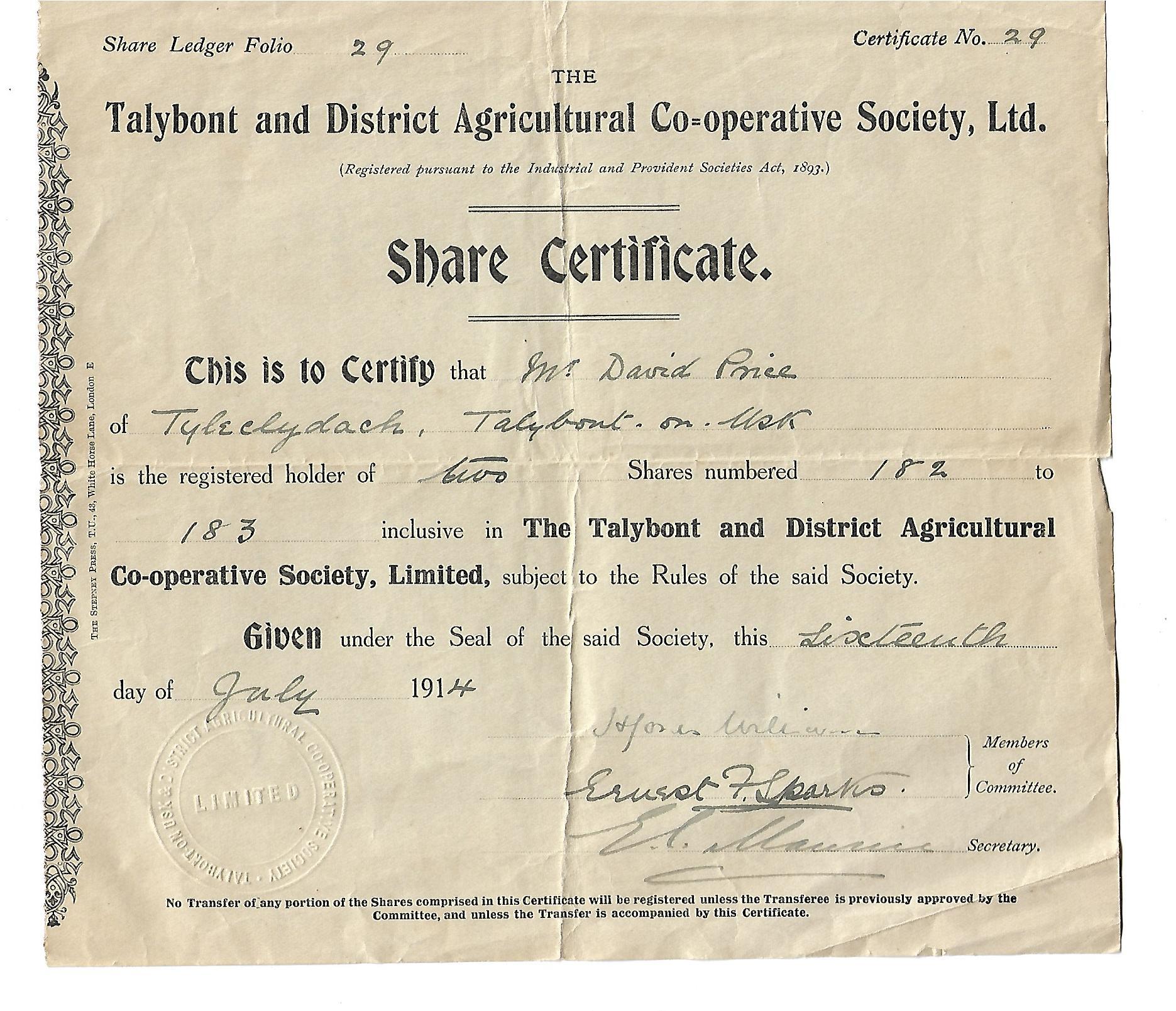 Talybont Mart share certificate 1914