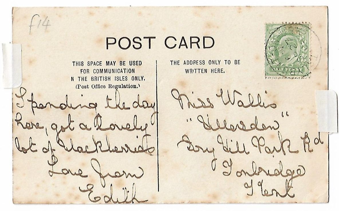 Reverse of canal postcard with Talybont post office franking