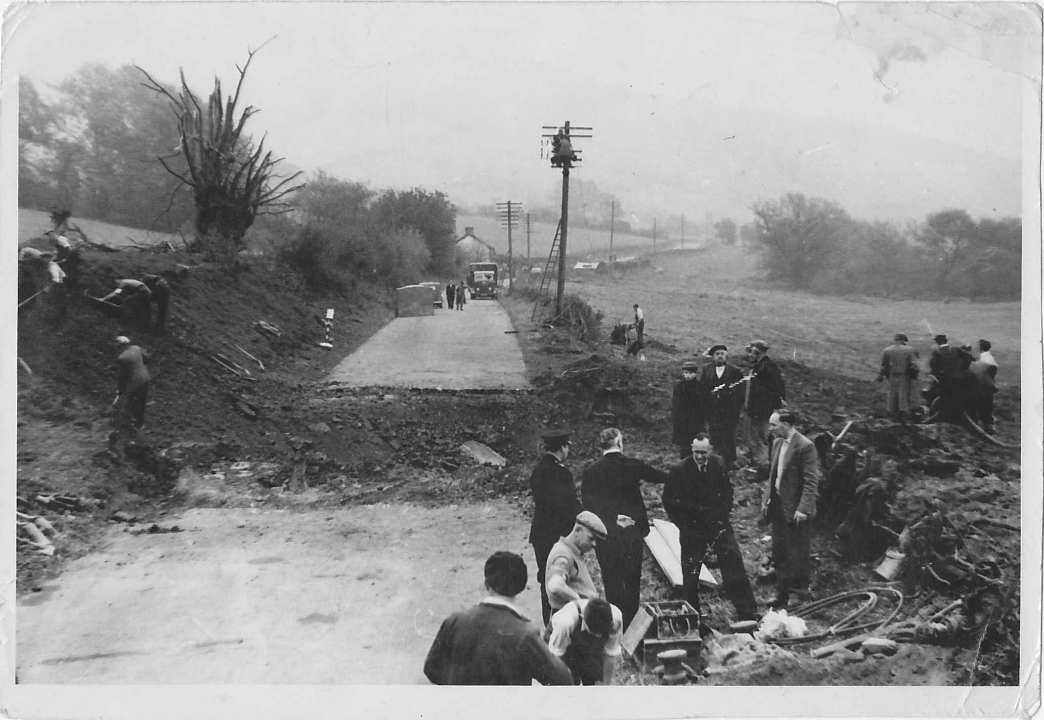A40 Explosion road damage 1957